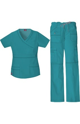 Gen Flex by Dickies Women's Mock Wrap Scrub Top & Straight Leg Scrub Pant Set