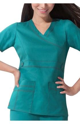 Clearance Gen Flex by Dickies Women's Mock Wrap Solid Scrub Top