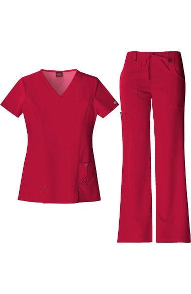 0a3bb234be1 Xtreme Stretch by Dickies Women's V-Neck Scrub Top & Flare Leg Scrub Pant  Set