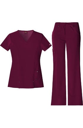 Xtreme Stretch by Dickies Women's V-Neck Scrub Top & Flare Leg Scrub Pant Set