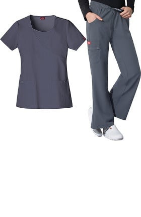 Xtreme Stretch by Dickies Women's Mock Wrap Scrub Top & Elastic Waist Scrub Pant Set