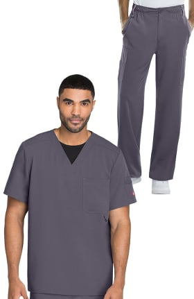 Xtreme Stretch by Dickies Men's V-Neck Scrub Top & Button Front Scrub Pant Set