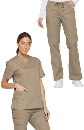 Everyday Scrubs Signature by Dickies Women's V-Neck Solid Scrub Top & Drawstring Cargo Scrub Pant Set
