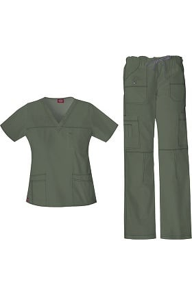 Gen Flex by Dickies Women's V-Neck Top & Cargo Pant Scrub Set
