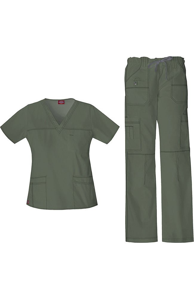 2e7c730160e Gen Flex by Dickies Women's V-Neck Top & Cargo Pant Scrub Set