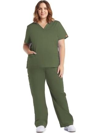 Gen Flex by Dickies Women's V-Neck Top & Cargo Pant Scrub Set