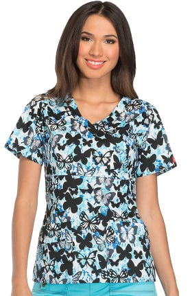 Gen Flex by Dickies Women's Mock Wrap Butterfly Print Scrub Top