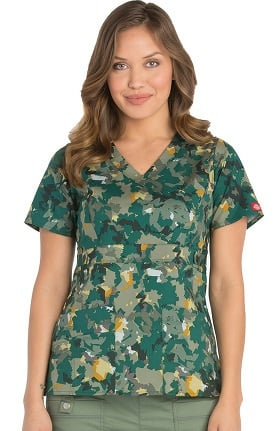 Gen Flex by Dickies Women's Mock Wrap Camo Print Scrub Top