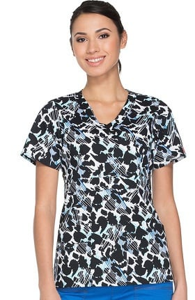 Gen Flex by Dickies Women's Mock Wrap Animal Print Scrub Top