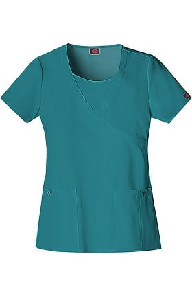 Xtreme Stretch by Dickies Women's Mock Wrap Solid Scrub Top