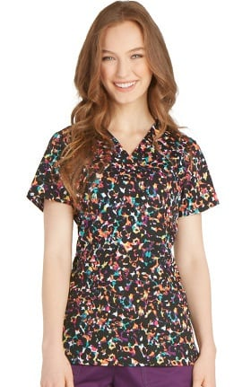 Gen Flex by Dickies Women's Youtility V-Neck Animal Print Scrub Top