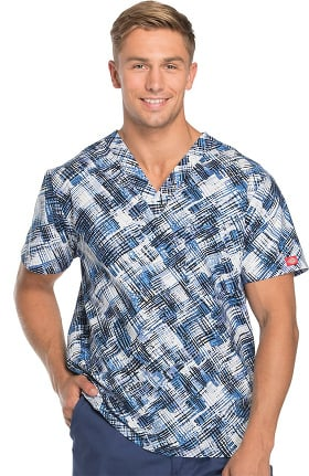 Clearance Everyday Scrubs Signature by Dickies Unisex V-Neck Plaid Print Scrub Top