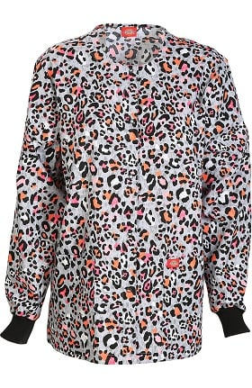 Clearance EDS Signature by Dickies Women's Snap Front Animal Print Scrub Jacket