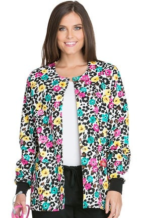 Everyday Scrubs Signature by Dickies Women's Snap Front Floral Print Scrub Jacket