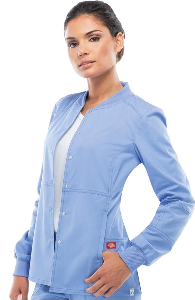 Clearance EDS Signature Stretch By Dickies Womenu0027s Snap Front Warm Up Scrub  Jacket