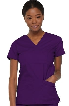 Clearance EDS Signature by Dickies Women's Empire Waist Mock Wrap Solid Scrub Top
