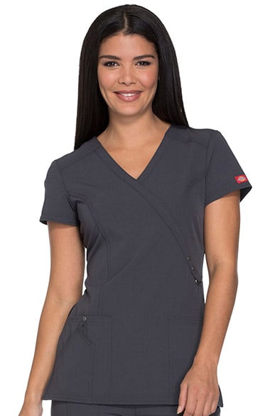 935c3a6366a Xtreme Stretch by Dickies Women's Mock Wrap Solid Scrub Top | allheart.com