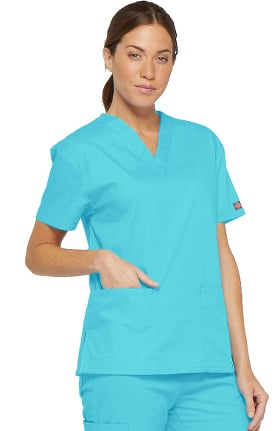 Clearance EDS Signature by Dickies Women's V-Neck Solid Scrub Top