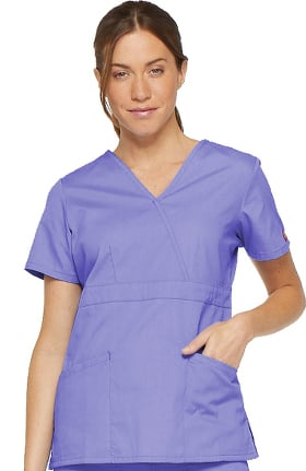 Clearance EDS Signature by Dickies Women's Mock Wrap Solid Scrub Top