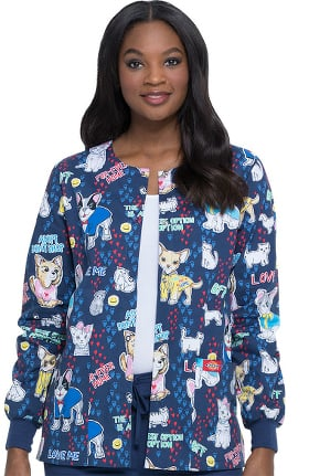 Clearance EDS Signature by Dickies Women's Adopt Dont Shop Print Scrub Jacket