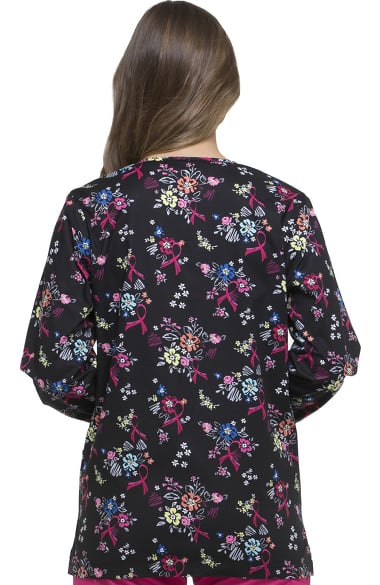 f93662de3d1 Clearance EDS Signature by Dickies Women's Snap Front Warm-Up Floral Print  Scrub Jacket. 1