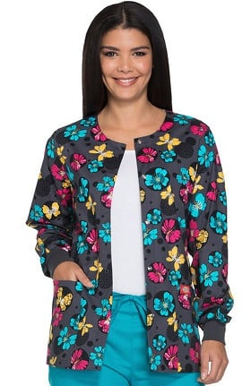 Everyday Scrubs Signature by Dickies Women's Snap Front Butterfly Print Scrub Jacket
