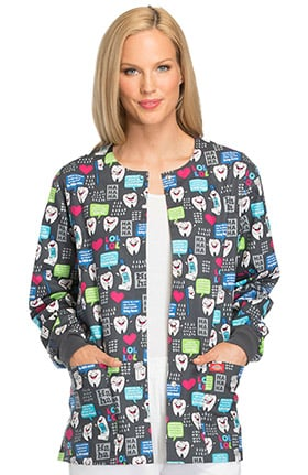 Clearance EDS Signature by Dickies Women's Snap Front Dental Print Scrub Jacket