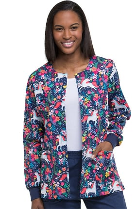 EDS Signature by Dickies Women's Snap Front Warm-Up Floral Print Scrub Jacket