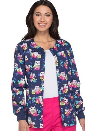 Everyday Scrubs Signature by Dickies Women's Snap Front Owl Print Scrub Jacket