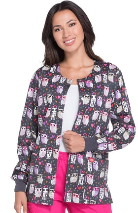 EDS Signature by Dickies Women's Snap Front Owl Print Scrub Jacket