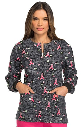 Fashion Prints by Dickies Women's Snap Front Ribbon Print Scrub Jacket