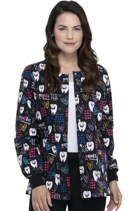 Clearance EDS Signature by Dickies Women's Smile Its Toothsday Print Scrub Jacket