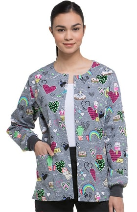 EDS Signature by Dickies Women's Snap Front Warm-Up Cat Print Scrub Jacket