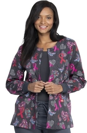 Clearance EDS Signature by Dickies Women's Snap Front Speck-Tacular Love Print Scrub Jacket