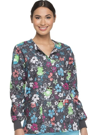 EDS Signature by Dickies Women's Snap Front Frog Print Scrub Jacket