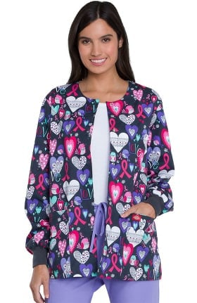 Clearance EDS Essentials by Dickies Women's Snap Front Heart Print Scrub Jacket