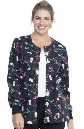 Clearance EDS Essentials by Dickies Women's Snap Front We Stick Together Print Scrub Jacket