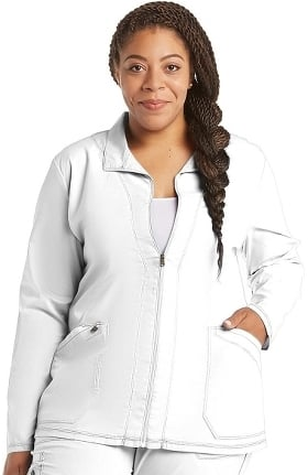 Clearance Essence by Dickies Women's Zip Front Warm-Up Solid Scrub Jacket