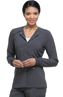 EDS Essentials by Dickies Women's Snap Front Warm-Up Solid Scrub Jacket