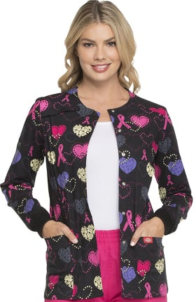 Fashion Prints by Dickies Women's Snap Front Breast Cancer Awareness Print Scrub Jacket