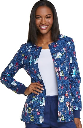 Clearance Fashion Prints by Dickies Women's Snap Front Abstract Print Scrub Jacket