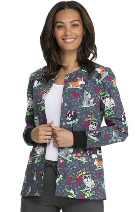 Clearance EDS Essentials by Dickies Women's Good Times Roll Print Scrub Jacket