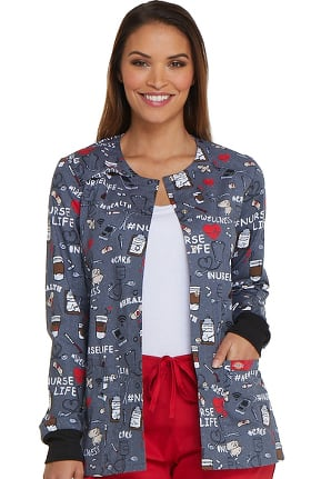 Fashion Prints by Dickies Women's Snap Front Nurse Print Scrub Jacket