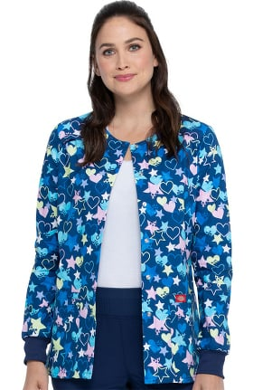 Clearance EDS Essentials by Dickies Women's Starry Eyed Love Print Scrub Jacket