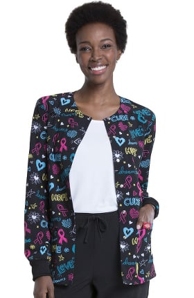 EDS Signature by Dickies Women's Love Cure Hope Warm-Up Print Scrub Jacket