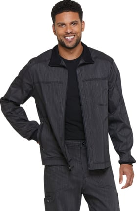 Advance by Dickies Men's  Zip Front Solid Moto Scrub Jacket