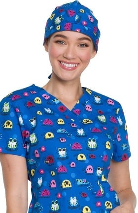 EDS Essentials by Dickies Unisex Frog Print Scrub Hat