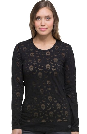 EDS Signature by Dickies Women's Long Sleeve Halloween Print Underscrub T-Shirt