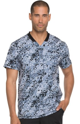 Fashion Prints by Dickies Men's V-Neck Geometric Print Scrub Top
