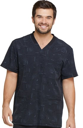 Fashion Prints by Dickies Men's V-Neck Abstract Print Scrub Top